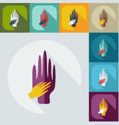 Flat modern design with shadow icons arm in arm vector