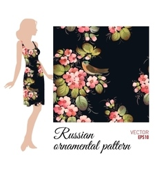 Floral textile pattern in russian zhostovo style vector