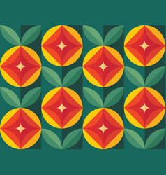 fruits and leaves nature background mid-century vector image