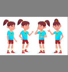 girl schoolgirl kid poses set high school vector image