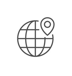 globe and location point line icon vector image