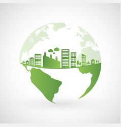 Green city on earth vector
