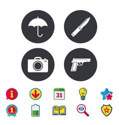 Gun weapon knife umbrella and photo camera vector