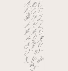 Hand drawn flowered alphabet monogram vector