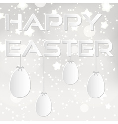 happy easter from paper with white eggs eps10 vector image