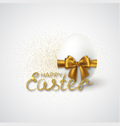 happy easter lettering with realistic 3d egg vector image