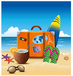 Holiday suitcase with sticker flip-flops summer vector
