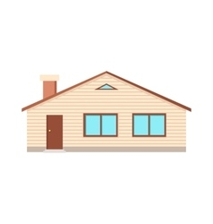 House with Two Windows Door and Chimney Isolated vector