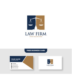 Law firm and attorney logo and business card vector