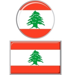 Lebanese round and square icon flag vector image