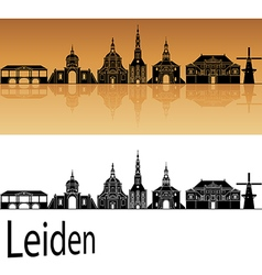 Leiden skyline in orange background in editable vector image