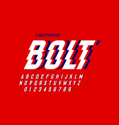 lightning bolt style font vector image