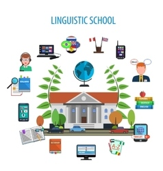 Linguistic school flat style color concept vector