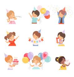 Little children celebrating birthday holding vector