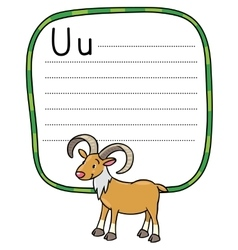 Little funny urial or ram for ABC Alphabet U vector