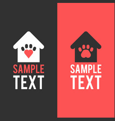 Logo template home for pet pets paw vector