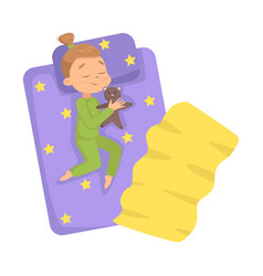 lovely little girl sleeping sweetly in her bed vector image