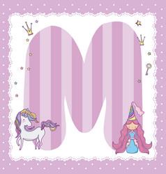 m alphabet letter for kids vector image