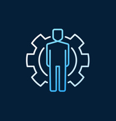 man inside cogwheel colored outline icon or vector image