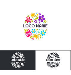 Many flowers logo two vector