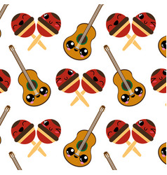 maracas and guitar design vector image