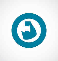 Muscle arm icon bold blue circle border vector