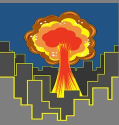 Nuclear burst in city cartoon bomb explosion vector