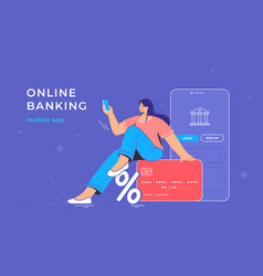 online banking app and red credit card vector image