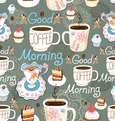 pattern delicious cup of coffee vector image