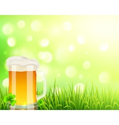 Pint of beer on bokeh light background vector