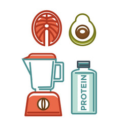 Protein bottle near blender and avocado half vector