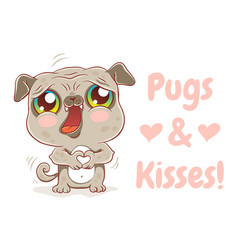 pugs and kisses vector image