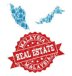 Real estate collage of mosaic map of malaysia and vector