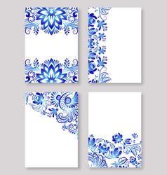 russian ornaments gzhel art vector image