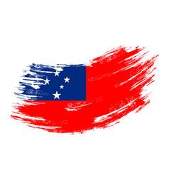 Samoan flag grunge brush background vector