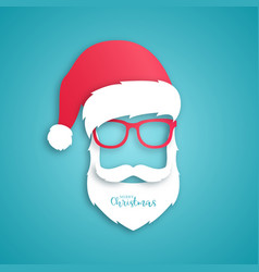 santa claus with red hat and glasses vector image