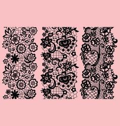 set of black lacy vintage elegant trims vector image