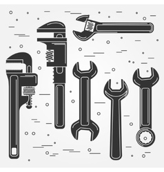 Set of flat wrench icon vector