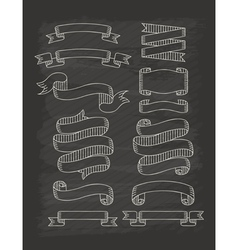 set ribbons in vintage style with chalkboard vector image