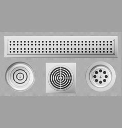 Shower drainage holes with stainless covers set vector