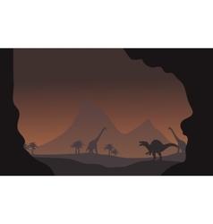 Silhouette of spinosaurus and brachiosaurus vector image