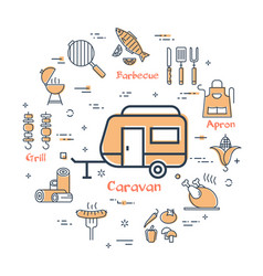 simple icons of camping food making vector image