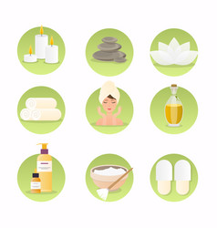 spa and wellness icon set natural cosmetics and vector image