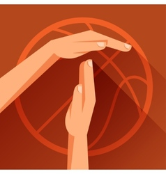 Sports with basketball gesture sign timeout vector image