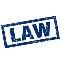 square grunge blue law stamp vector image