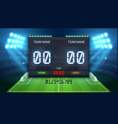 Stadium electronic sports scoreboard with soccer vector