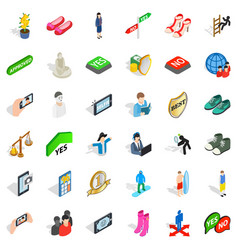 Statue icons set isometric style vector