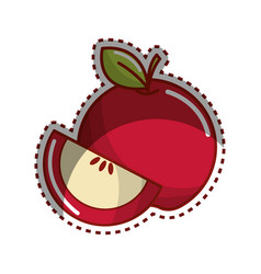 Sticker red apple fruit icon stock vector
