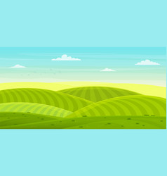 sunny rural landscape with hills and fields vector image