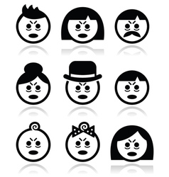 Tired or sick people faces icons set vector